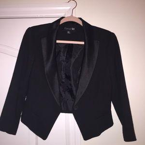 Black Blazer with Silky Collar Detail